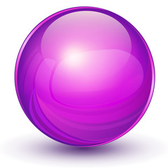 Sphere, 3D violet vector ball.