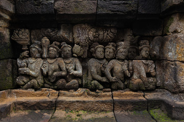 Carved stone at Borobudur on Java, Indonesia