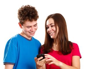 Teens using smartphone
