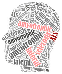 ALS. Word cloud illustration brain disease related.