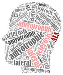 ALS. Word cloud illustration brain disease related.