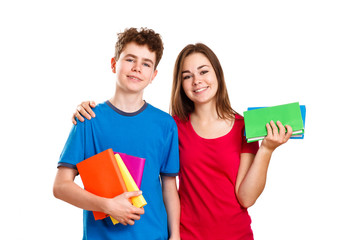 Students holding books isolated on white background