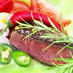 Steak und Salat