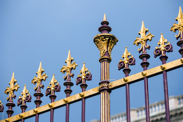 Congress Center golden fence and architecture detail in Vienna
