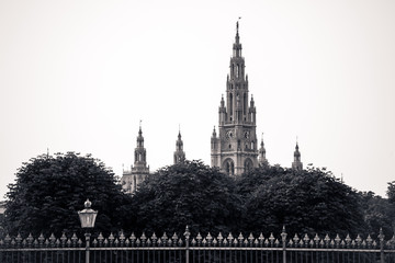 Gothic building tower of Vienna city hall