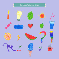 20 hand-drawn items collection