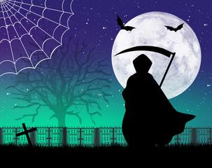Man with scythe of Halloween