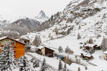 Matterhorn from Zermatt Village during winter