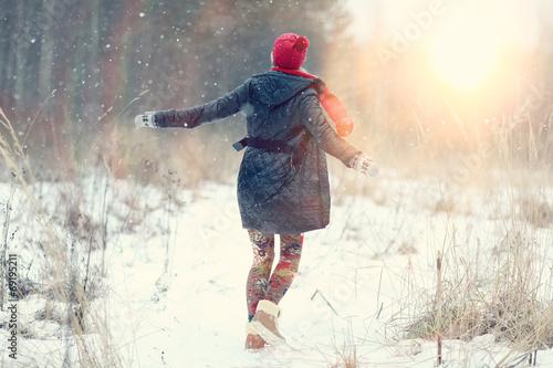 canvas print picture happy girl winter snow runs