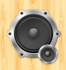 speaker on wooden background