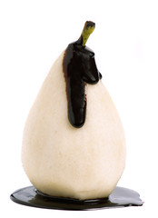 peeled pear covered in chocolate