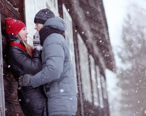 lovers in winter village