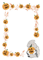 Halloween frame with pumpkins cartoon