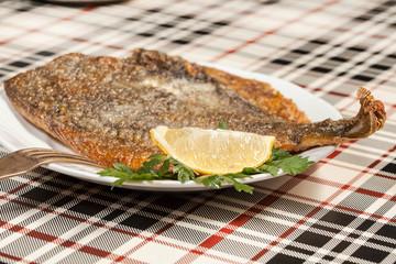 Fried flounder. Selective focus.