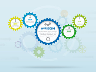 Infographic background vector template with cogs and gears