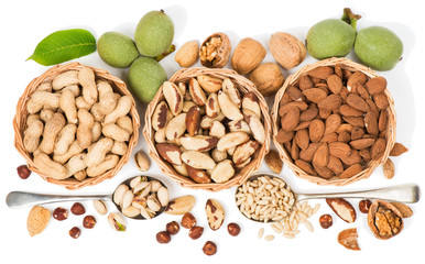Top view of variety of nuts