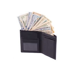 Black leather wallet full of money.
