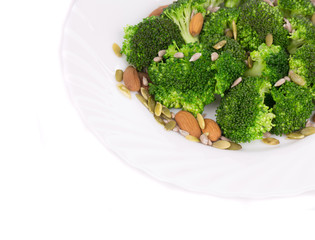 Broccoli salad with seeds and nuts.