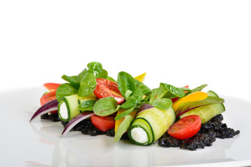 Original Greek salad on white background