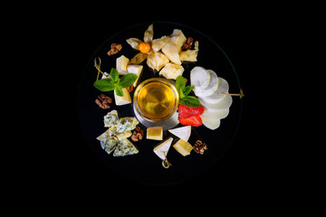 Cheese plate top view