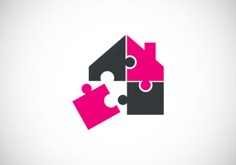 house puzzle game construction vector logo