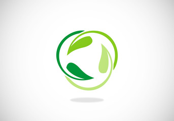 leaf circle ecology life vector logo