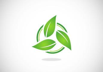 leaf circle green ecology vector logo