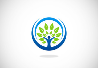 people tree ecology vector logo
