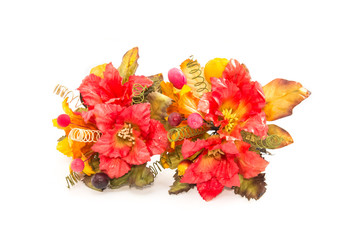 Artificial flower on white background