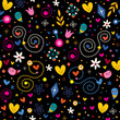 nature love harmony hearts flowers characters seamless pattern