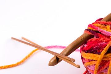 Crochet hooks and wool
