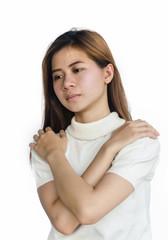 Asian women in unhappy.