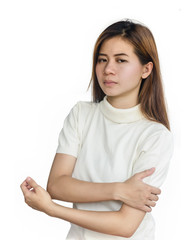 Asian woman with a arm pain  .