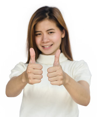 Asian woman giving her  thumbs up.