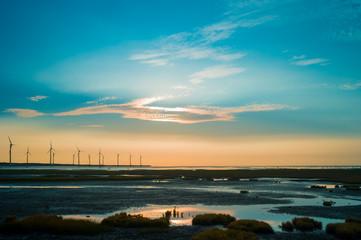 sillouette of wind turbine array
