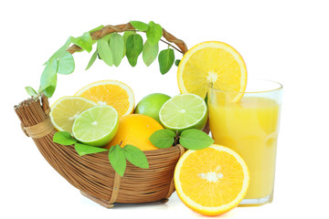 Orange juice with citrus basket