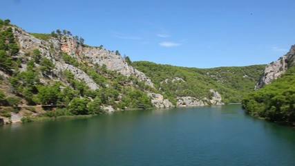 Panoramic shot of river Krka`s shore