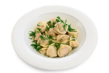 plate with boiled dumplings