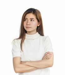 Asian woman thinking.
