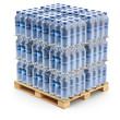 Plastic PET bottles on the pallet - 69199671