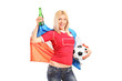 Female football fan with Dutch flag and a beer