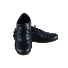 black male leather shoes isolated on white background