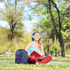 Female student studying on campus