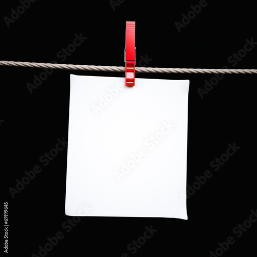 canvas print picture Paper card and peg hanging on the rope