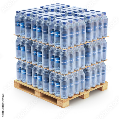 Plastic PET bottles on the pallet - 69199671