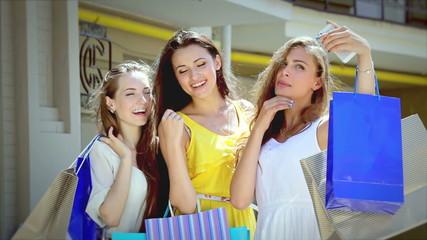 Young beautiful girl shopaholic make selfie after shopping
