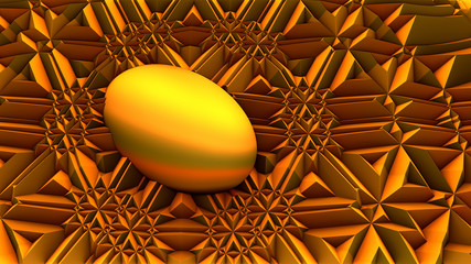Abstract Golden Surreal Egg
