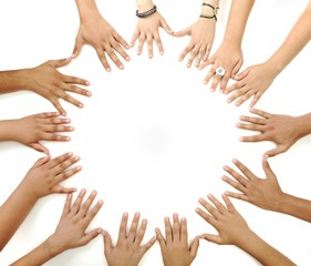 Many hands in circle