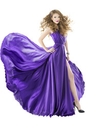 Woman silk dress, long fluttering train, girl purple clothes