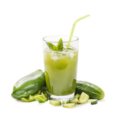 Glass of juice from fresh cucumbers with pepper